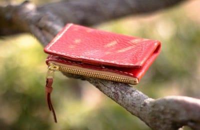 手触りが優しい革の小銭入れ付きパスケース