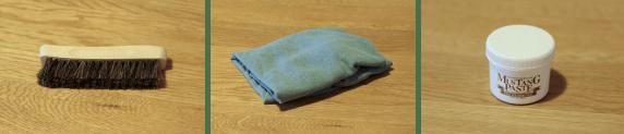 馬毛ブラシ、布切れ、保革油のイメージ