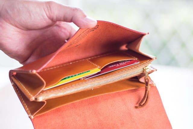 革財布のカードポケット